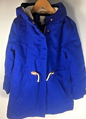 Boden Girl's 6-7 royal blue faux fur lined cotton coat jacket. Mini Boden Girls