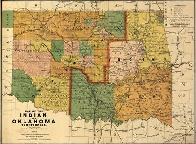 "18"" x 24"" 1892 Map of the Indian and Oklahoma territories. Oklahoma, United"