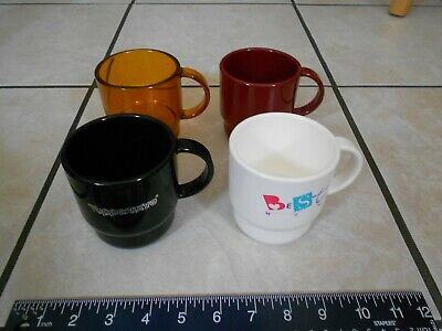 *Four* Vintage Tupperware Coffee Cups (different colors) *USED* as pictured