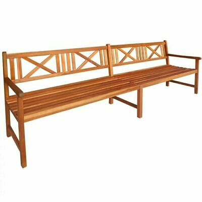 Solid Acacia Wood Garden Bench Outdoor Park Chair 4 Seater 240x56x90cm