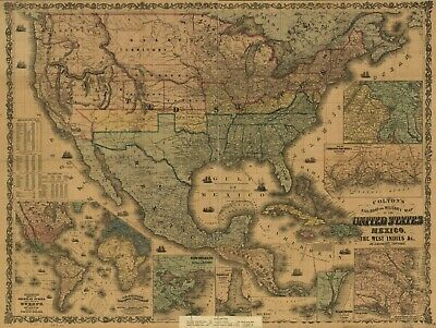 """18"""" x 24"""" 1862 Colton's rail-road and military of the United States"""