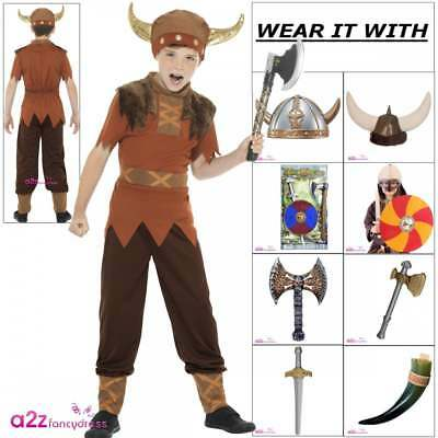 Boys Viking Costume Kids Childs Nordic Warrior World Book Day Fancy Dress Outfit