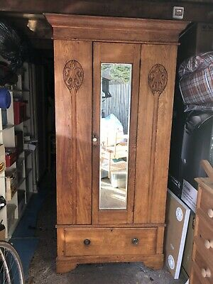 Vintage Antique Wood Wardrobe With Carved Wood Details