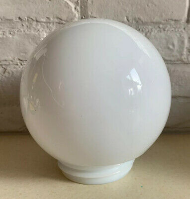 Vintage White Milk Glass Globe Lampshade Light Lamp Shade Threaded Bottom