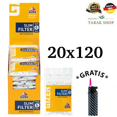 20x120er Gizeh Slim Filter 6mm Aktivkohle Filter Zigarettenfilter Dreh Filter