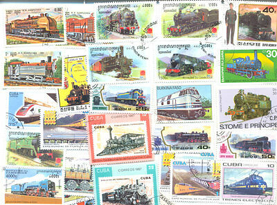Railways-Trains-300 all different stamps  collection mainly medium-large stamps