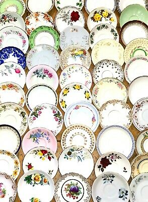 Vintage Mismatched China Saucers ONLY NO Tea Cups Sets Party Wedding Bulk