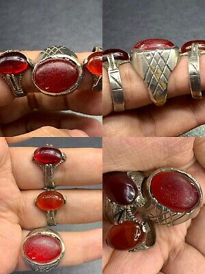 Old Agate stone brass Wonderful Unique 3 Ring
