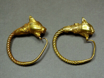 Christie's Provenance ** Hellenistic Gold Earrings Lynx Head 3Rd-2Nd Century Bc