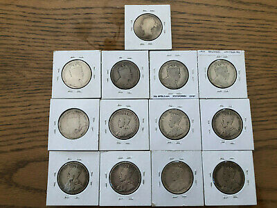 Lot Of 13 Old Canada 50 Cents Coins,  1870 To 1919 .925 Silver Good Value Added