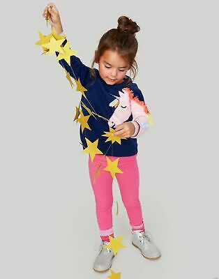 Joules Girls Gee Gee Novelty Knitted Jumper  - NAVY UNICORN