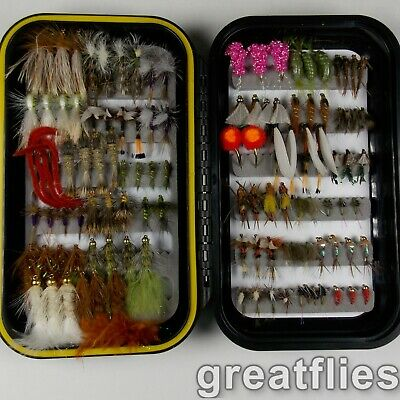 Top Dry and Wet Flies 72 Eastern Trout Fly Assortment /& CLR Fly Box