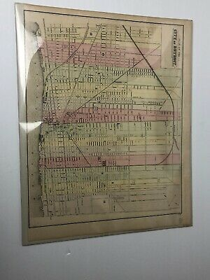rare Antique Historical Map Of Detroit City 1890's 15 X 12 Michigan