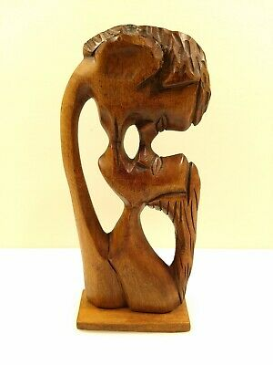 Vintage Hand Carved Man & Woman Kissing Abstract Kissing Couple In Love Romantic
