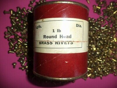"25 oz VINTAGE CHASE ROUND HEAD BRASS RIVETS 1/4"" x 1/8"" AMERICAN MADE HEAVY DUTY"