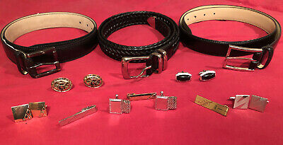 Perry Ellis NEW Leather Braided Belt Black Men 36 Two Other Belt Cufflinks&Clips