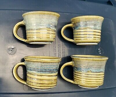 Mojica Signed Ribbed Glazed Pottery Coffee Cups 4 Mugs Blue Green Ellen Martin?
