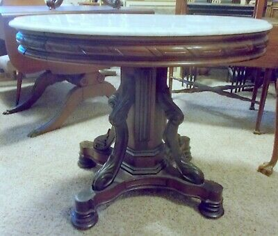 Stunning VICTORIAN Center PARLOR TABLE Oval MARBLE Top Renaissance revival