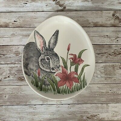 Maxcera Easter Bunny Rabbit Dinner Plates Pink Flowers Oval Egg Shaped Set Of 4