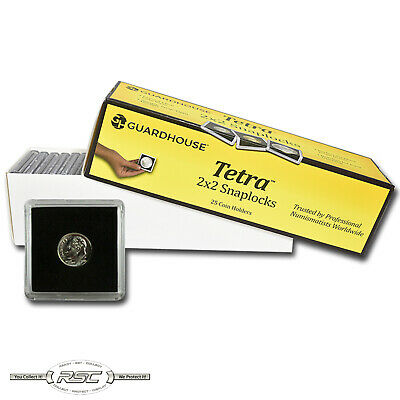 25 - Guardhouse 2x2 Tetra Plastic Snaplocks Coin Holders for Dime & $2.5 Gold