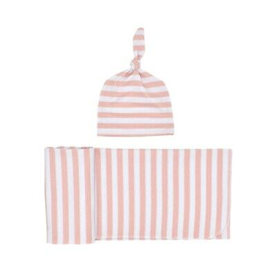 Knitted Baby Swaddle Blanket with Hat Set, Newborn Swaddle Wrap, Receiving  I4S2