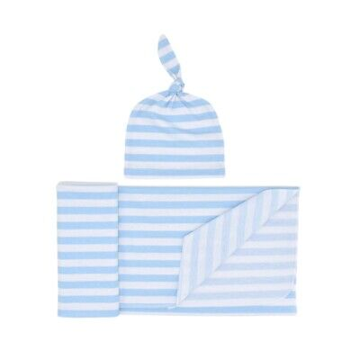 Knitted Baby Swaddle Blanket with Hat Set, Newborn Swaddle Wrap, Receiving  G2H8