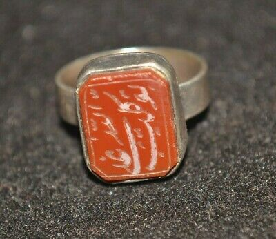 Antique Carnelian Intaglio Seal Signet Ring .800 Coin Silver Arabic? Sz 6.75