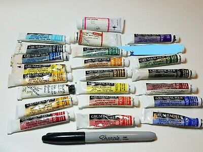 Lot Watercolor Artists Paints Mostly Grumbacher 22 Tubes Holbein Gouache Winsor