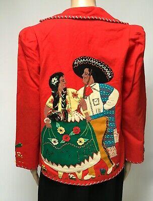 1950s Mexico Souvenir Jacket Red Wool Hand Made Unisex Rockabilly Ethnic Tourist