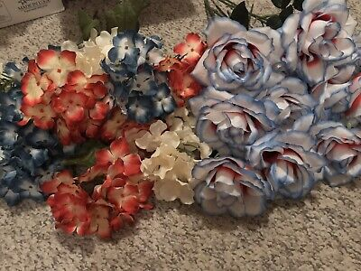 Artificial Hydrangea And Roses Lot Red White Blue