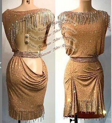 L1994  women Competition samba  Latin/Rhythm Rumba dress UK 8 US 6 brown