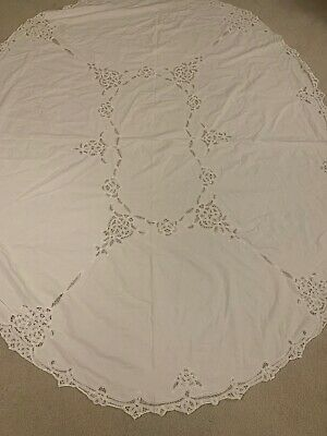 "Antique cutwork tablecloth  lace inserts crochet Oval 84"" X 70"" Vintage"