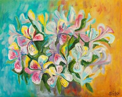 Abstract Flowers - Original Handmade Oil on Canvas Impressionism Painting