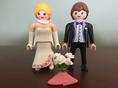 Playmobil,BRIDE AND GROOM,FLOWER BOUQUET,HAIR RIBBON,LOT # 401