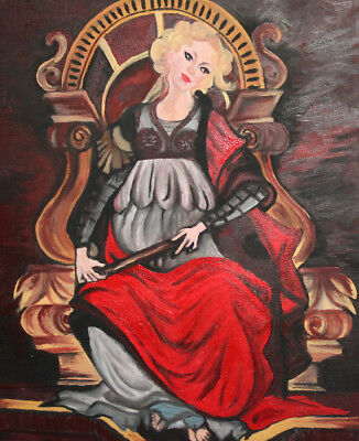 Young Woman Seated On Throne Portrait Oil Painting