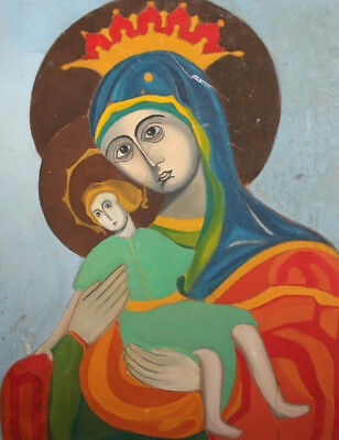 Vintage Religious Oil Painting Virgin Mary And Christ Child