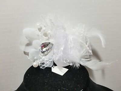 WHITE Beaded Feather Rhinestone Fascinator Hair Clip And Pin Back    H3