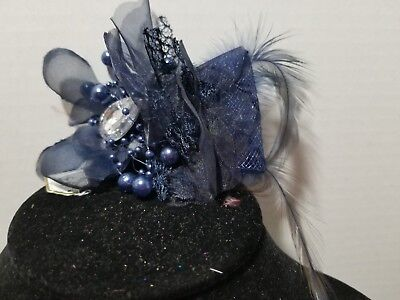 NAVY BLUE Beaded Feather Rhinestone Fascinator Hair Clip And Pin Back    H3
