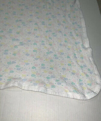 Vintage Receiving Baby Blanket Waffle Weave Balloons Thermal Pastel Hearts 30x27