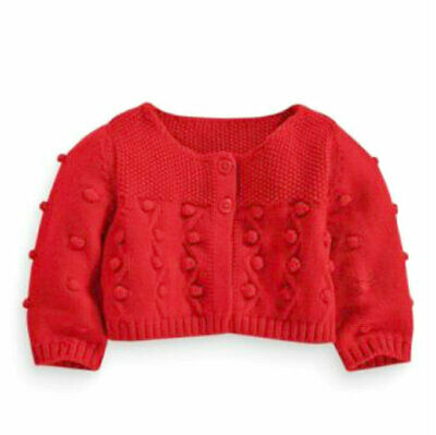 Next Baby Girls Red knitted Cardigan 6/9 Months