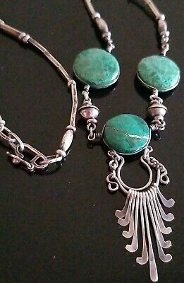 Antique Victorian Style Sterling Silver 925 Natural Green Stone Necklace 19""