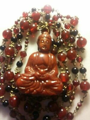 Old Chinese Carved Red Jade Buddha Pendant Vtg. Czech Red Black Glass Necklace.