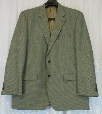 Mens Lauren Ralph Lauren 2 Button Blazer Jacket EUC Wool 46L Suit Houndstooth