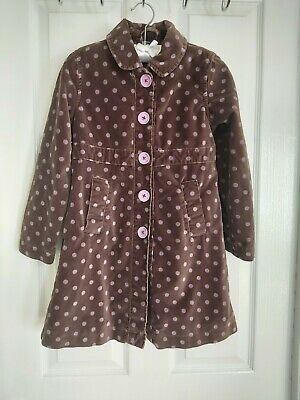 Mini Boden Girls Coat Jacket Velvet Polka dot spotty Age 7/8 years