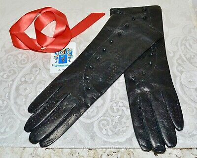 NWOT $150 PORTOLANO Perforated Leather Gloves Black Silk Lined Size 7