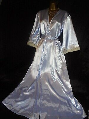 Stunning   blue slippy silky satin /robe  negligee beautiful  cd/tv 38 chest
