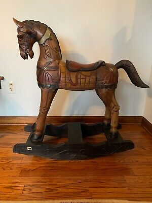 Vintage Solid Hand Carved & Painted Rocking Horse- Absolutely Beautiful