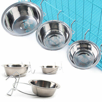 Stainless Steel Pet Bowl Metal Cat Water Dog S/M/L Crate Cage Hang-on Food