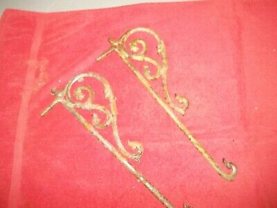 Pair Vintage Victorian Style Swing Arm Curtain Rods Antique Musical Notes
