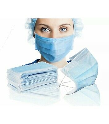 Box Of 50 Disposable Face Mask Surgical Pleated Style Latex-Free Dust Protection